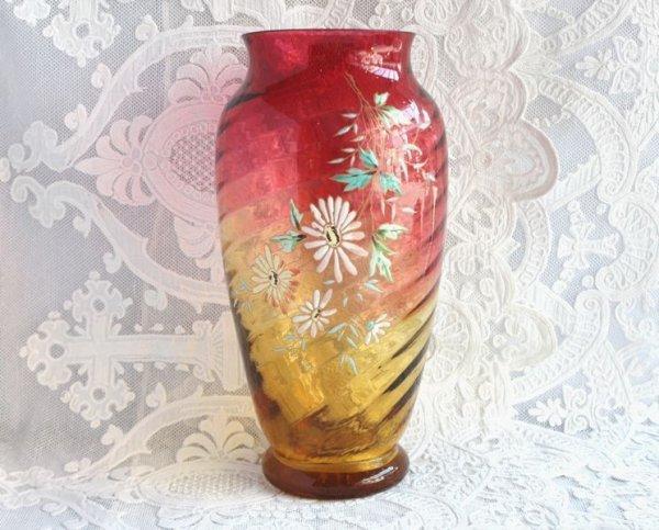 画像1: バカラ エナメル彩の花瓶 (1)