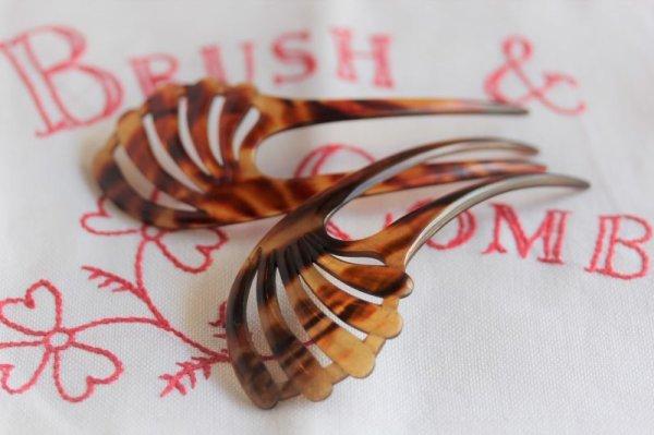 画像1: ベークライトの髪飾り ペア (1)
