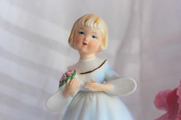 画像1: オルゴール 水色ドレスの人形 里帰り品 (1)