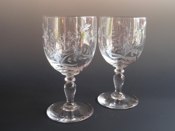 サン・ルイ ハンドカットワイングラス ペア Antiques Violetta